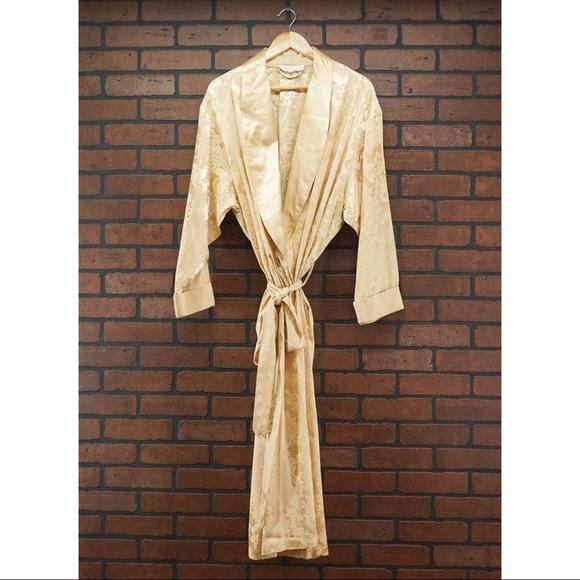 Victoria's Secret Other - VICTORIA'S SECRET Vintage Jacquard Gold Robe Sz L